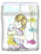 Girl With A Toy-fish Duvet Cover