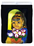Girl With African Violet Duvet Cover