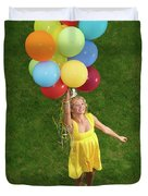 Girl With Air Balloons Duvet Cover