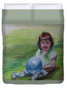 Girl With Ball Duvet Cover