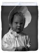 Girl With Bonnet And Curls Duvet Cover