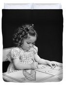 Girl With Coloring Book, C.1960-40s Duvet Cover