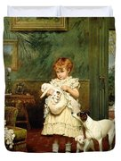Girl With Dogs Duvet Cover by Charles Burton Barber