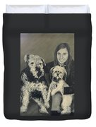 Girl With Dogs In Black And White Duvet Cover