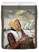 Girl With Fish Basket Duvet Cover
