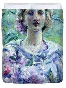 Girl With Flowers Duvet Cover