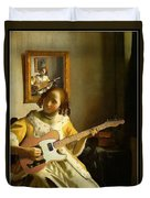 Girl With Guitar Duvet Cover