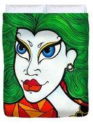 Girl With Lush Green Hair. Duvet Cover