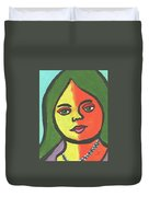 Girl With Necklace Duvet Cover