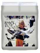 Girl With Pigeons Duvet Cover