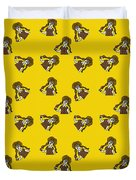 Girl With Popsicle Yellow Duvet Cover