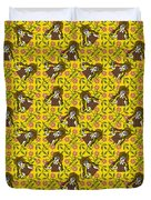 Girl With Popsicle Yellow Floral Duvet Cover