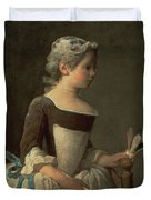 Girl With Racket And Shuttlecock Duvet Cover by Jean-Baptiste Simeon Chardin
