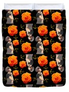 Girl With Roses And Anchors Black Duvet Cover