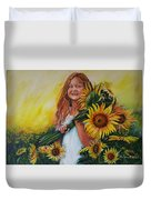 Girl With Sunflowers Duvet Cover