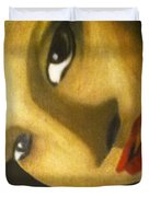 Girl With The Pearl Earring Close Up Duvet Cover