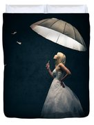 Girl With Umbrella And Falling Feathers Duvet Cover