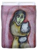 Girl With White Cat Duvet Cover