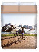 Girls At The Fountain Duvet Cover