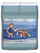 Girls On Beach Duvet Cover