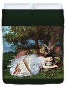 Girls On The Banks Of The Seine Duvet Cover by Gustave Courbet