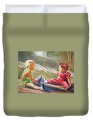 Girls Playing Ball  Duvet Cover