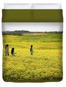 Girls Walking In The Field Duvet Cover