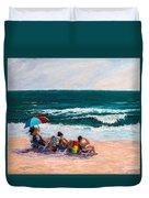 Girsl On The Beach Duvet Cover