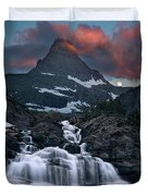 Glacier Morning Waterfall And Moonset Duvet Cover