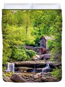 Glade Creek Grist Mill 3 - Paint Duvet Cover