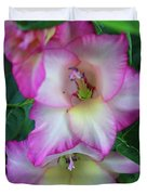 Gladiolas Blooming With Ripening Blueberries Duvet Cover