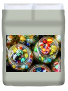 Glass Marbles In Containers Duvet Cover