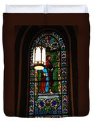 Glass Window Of Saint Philip In The Basilica In Santa Fe  Duvet Cover