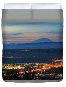 Glenn L Jackson Bridge And Mount Saint Helens After Sunset Duvet Cover