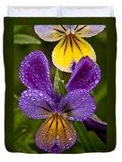 Glittered Wild Pansies Duvet Cover