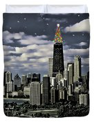 Glittering Chicago Christmas Tree Duvet Cover