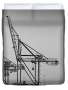 Global Containers Terminal Cargo Freight Cranes Bw Duvet Cover