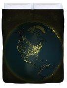 Globe Lights America Duvet Cover