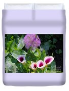 Globe Thistle And Calla Lilies Duvet Cover by Corey Ford