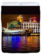 Globes On The Bund At Night Duvet Cover