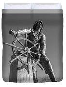 Gloucester Fisherman's Memorial Statue Black And White Duvet Cover