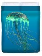 Glow Green Jellyfish Duvet Cover