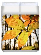 Glowing Beech Leaf Branch Duvet Cover