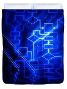 Glowing Blue Flowchart Duvet Cover