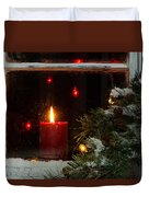 Glowing Christmas Candle In Frosted Home Window Duvet Cover