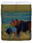 Glowing Grizzly Bear Duvet Cover