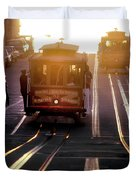 Glowing Magical Cable Cars On Nob Hill Duvet Cover
