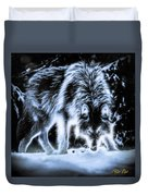 Glowing Wolf In The Gloom Duvet Cover