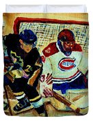 Goalie  And Hockey Art Duvet Cover by Carole Spandau