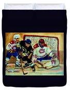 Goalie  And Hockey Art Duvet Cover